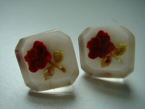 Vintage Red Rose in Clear Acrylic Screw Back Earrings Unique & Pretty