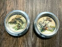 2 Vtg 1950's Fred Sweney Silver Metal Glass Stackable Coaster Set Wildlife Fish