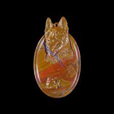 mm Dog bead Gl613021 Forest Fire Jasper 75x44x9