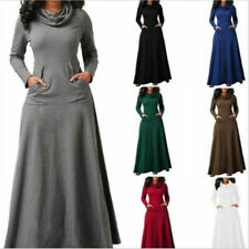 Women's Casual Heap Collar Long Sleeve Cotton Blend Maxi Dress Pullover Outdoor