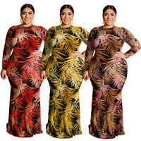 Women Long Sleeve Maxi Dress Print Bodycon Pencil Plus Size Party Club Sundress