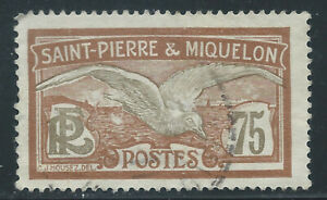 ST. PIERRE & MIQUELON #102(1) 1925 60 centimes brown & olive FULMAR PETREL Used