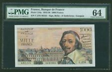 """FRANCE  1956  1000 FRANCS BANKNOTE, PMG CERTIFIED """"CHOICE UNCIRCULATED-64"""""""