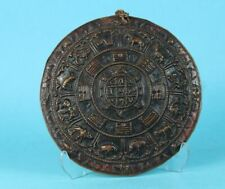 Scheibe - Relief Tier Darstellungen + Schriftzeichen wohl Astrologiescheibe /S99