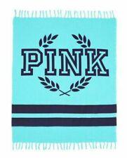 "Victorias Secret LOVE PINK~Blanket~ THROW-BEACH AQUA WITH BLUE 50"" X 60"" NEW NIP"