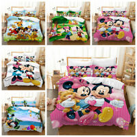 3D Disney Mickey Mouse Minnie Duvet Cover Bedding Set Quilt Cover Pillow Shams