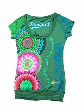 Desigual Floral Beaded Short Sleeve Gold Embroidered Elastic Buttom Shirt/ Top S