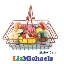 WOODEN CUTTING FOOD BASKET FRUIT VEGETABLE SLICES KIDS PRETEND PLAY TOY SHOPPING