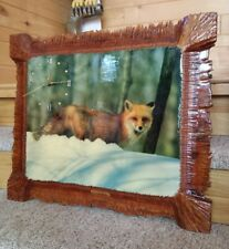 "VTG Rustic Laquered Wood Red Fox Wildlife Clock 26"" Hand Carved Frame Signed"