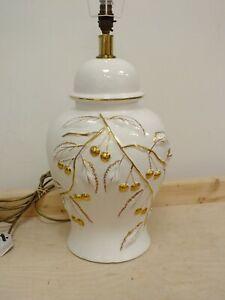 Large Vintage White & Gold Cherry Ceramic Ginger Jar Style Lamp Base (Hol)