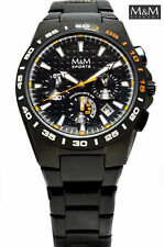 M&M Men's Chronograph Solid Stainless Steel, Black Coated, Sporty
