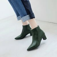 Fashion Pointy Toe Block Heels Ankle Boots Autumn Casual Ladies Shoes Size New
