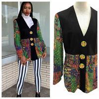 Vintage VTG 1980s 80s Abstract Multicolored Patterned Fringe Blazer Jacket