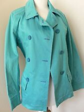 Teal Blue Wit N Wisdom Cotton Trenchcoat Jacket Size M