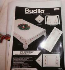 SIGNS of CHRISTMAS  Bucilla TABLECLOTH  Napkins TABLE RUNNER  Apron Vintage NEW