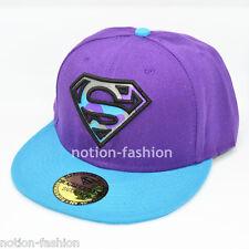 New Superman hiphop Snapback Adjustable baseball cap flat hat Purple Blue adult