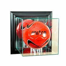 *NEW Wall Mounted Glass Soccer Glass Display Case Black Molding UV Made in USA