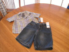 Boy's Baby Kenneth Cole jean shorts button shirt 6/9 MO months