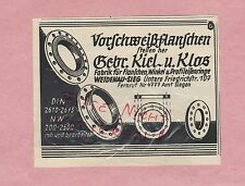 WEIDENAU-SIEG, Werbung 1936, Gebrüder Kiel & Klos Fabrik Flanschen Winkel