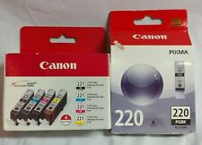 5 Pack of Genuine Canon CLI-221 PGI-220 Ink Cartridges Pixma MX870 PMFP1 PMFP3