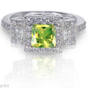 Princess Peridot Sterling Clear CZ Silver Ring