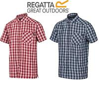 Regatta Mens Mindano V Check Short Sleeve Shirt Packable Quick Dry Checked
