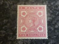 MALTA POSTAGE STAMP SG30 FIVE SHILLINGS ROSE 1886 LIGHTLY-MOUNTED MINT