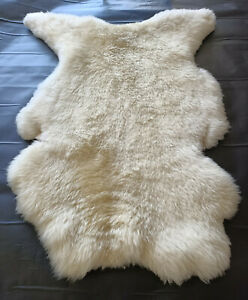 Natural Sheepskin Genuine Fur Rug 2x3 ft Organically Tanned Pelt Creamy White