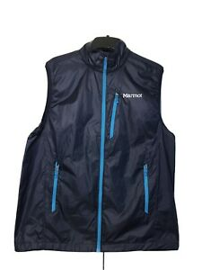 Marmot Full Zip Vest Mens Large Blue Nylon Lightweight Fleece Lined Windbreaker