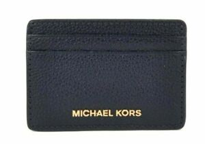 Michael Kors Money Pieces Pebbled Leather Card / ID Holder - Admiral Navy Blue