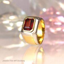 Ring 750/- Gelb/Weißgold mit 1 großen Granat Edelstein - glänzend