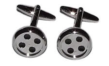 Sewing Seamstress Tailor Buttons Present Silver Button Cufflinks With Gift Pouch