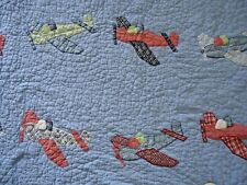 Pottery Barn Kids Queen Quilt Airplanes and (2) Shams VIntage