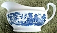 """Vintage ~ CHURCHILL England ~ BLUE WILLOW ~ 6"""" x 3"""" Gravy Boat ~ Replacement"""