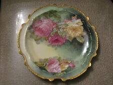 Antique Limoges L.R.L. Porcelain Hand Painted Plate Roses Signed S Wexon France