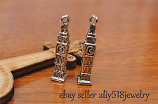 10s 25mm charm bell tower pendant DIY Jewelry For Bracelet Tibet Silver 7220