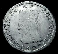 Scarce 1820 JF Cundinamarca 8 Reales Scarce  in this Grade A35-153