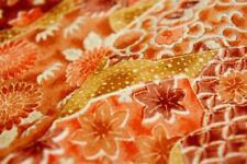 "Vintage Japanese Silk Kimono Fabric |Orange Patch 155cm(61"")"