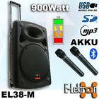 "15"" inch Speaker 900W Mobile PA Sound System Battery BT/MP3/USB/ 2 Mics Portable"