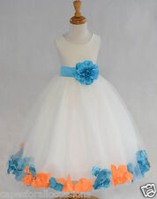 IVORY HOLIDAY CHRISTMAS ROSE PETAL WEDDING FLOWER GIRL DRESS 9M 2 4 6 8 10 12 14