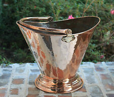 Antique French Large Hammered Copper Basket Planter Coal Hod w Copper Rivets