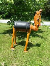 """Mid Century Wood Hand Carved Large 41 """" Tall Camel Bench Stool made in Turkey"""