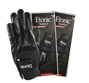 New Etonic Golf- MLH Stabilizer F1T Sport Glove Black Cadet Med Large (2 Pack)