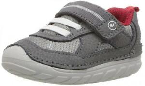 NEW -STRIDE RITE  Baby 'SOFT MOTION JAMIE' Gray/ Red SNEAKERS SHOES  -  3 M/ 19
