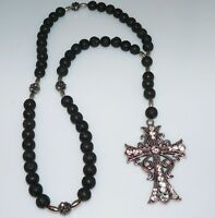Rosenkranz Kette Halskette Lava Strass Y-Kette schwarz Kreuz Modeschmuck  458