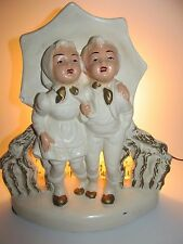 Vintage Melrose Chalkware Tv Lamp 2 Children Sharing Umbrella White Enchanting!