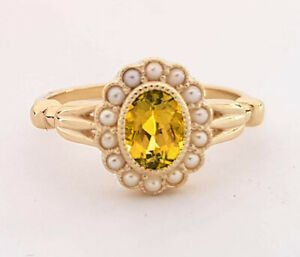 R290 Genuine 9K or 18K Gold Natural Citrine & Pearl Cluster Tulip Ring your size