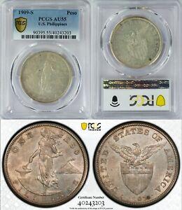 1909-S US/Philippines Peso ~ PCGS AU55 ~ 80% Silver ~ Allen#17.04 ~ 3203