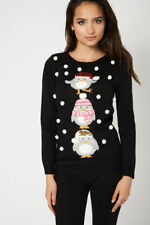 Women M&CO Black White Red Sequin Snowflaks 3D Christmas Jumper Top Xmas Penguin