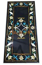 5'x3' Black Marble Dining Table Floral Top Furniture Inlaid Marquetry Decor B266